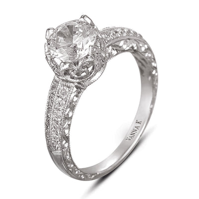 Hand Engraved Perfect Profile Diamond Ring Style 18RGL00306DCZ