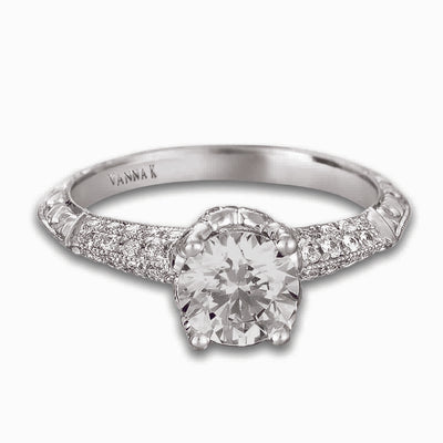 Hand Engraved Perfect Profile Diamond Ring Style 18RGL00378DCZ