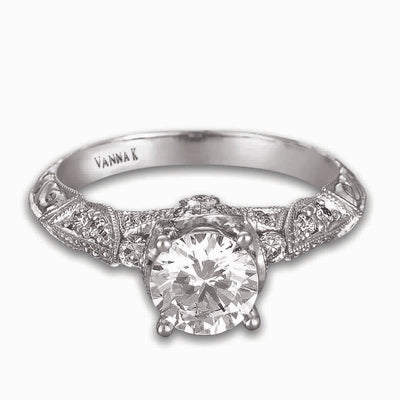 Hand Engraved Perfect Profile Diamond Ring Style 18RGL00422DCZ