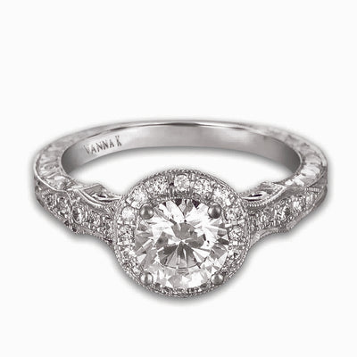 Hand Engraved Perfect Profile Diamond Ring Style 18RGL00432DCZ