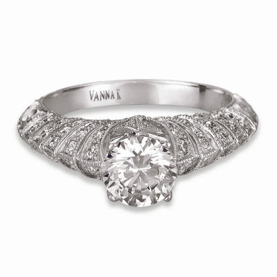 Hand Engraved Perfect Profile Diamond Ring Style 18RGL00406DCZ