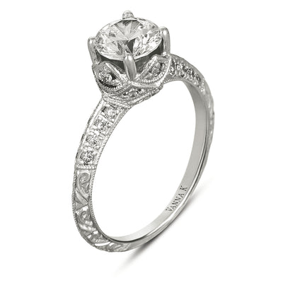 Hand Engraved Perfect Profile Diamond Ring Style 18RGL00413DCZ