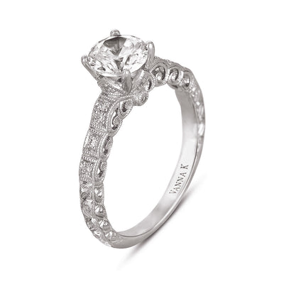 Hand Engraved Perfect Profile Diamond Ring Style 18RGL00443DCZ