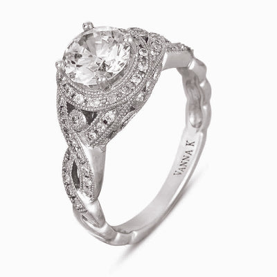 Vintage Inspired Diamond Pave Set Solea Ring Style  18RGL004411DCZ