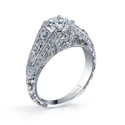 Hand Engraved Perfect Profile Diamond Ring Style 18RGL00314DCZ