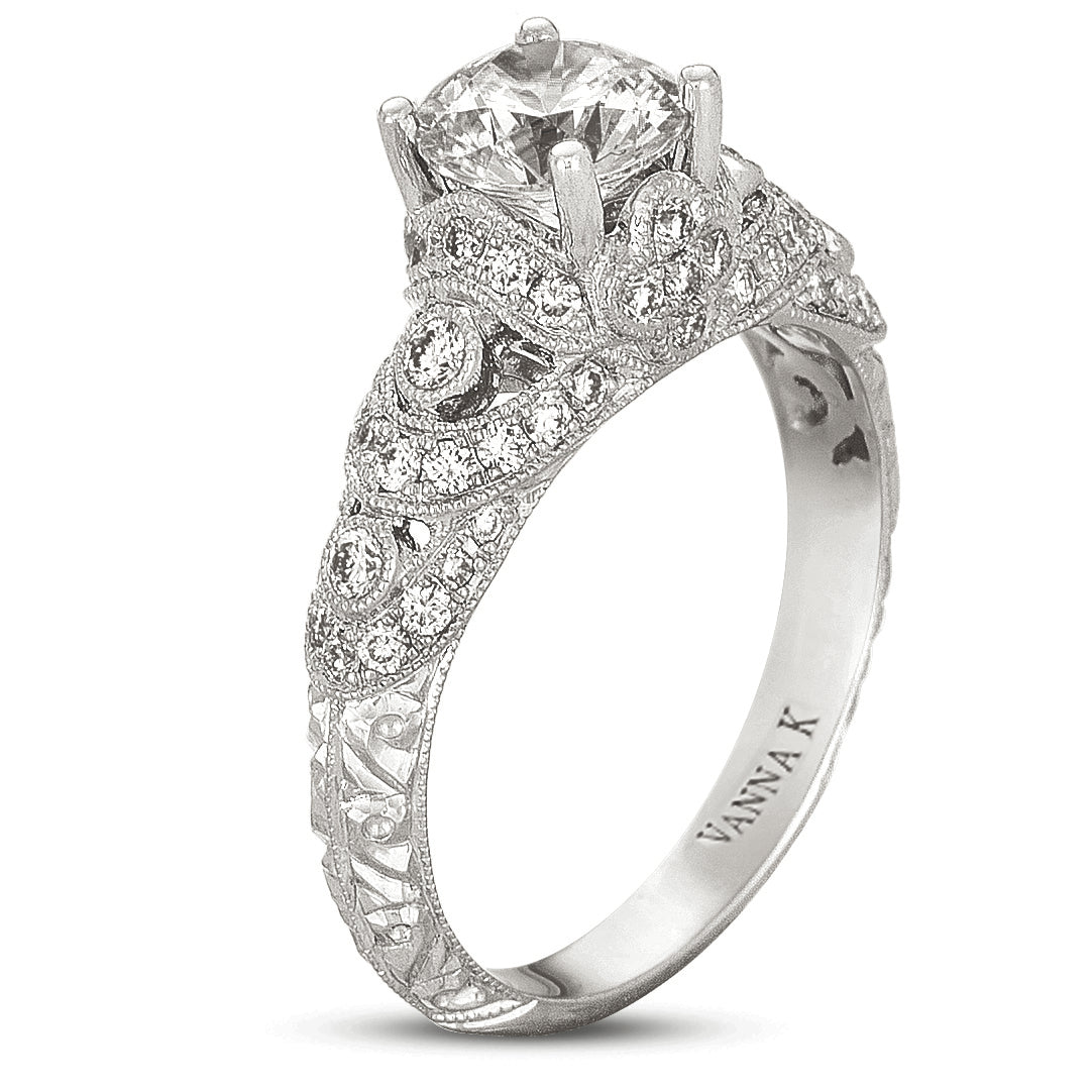 Hand Engraved Perfect Profile Diamond Ring Style 18RGL00396DCZ