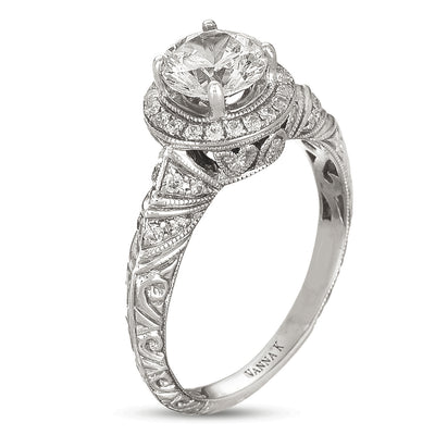 Hand Engraved Perfect Profile Diamond Ring Style 18RGL00415DCZ
