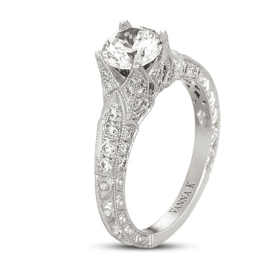 Hand Engraved Perfect Profile Diamond Ring Style 18RGL00449DCZ