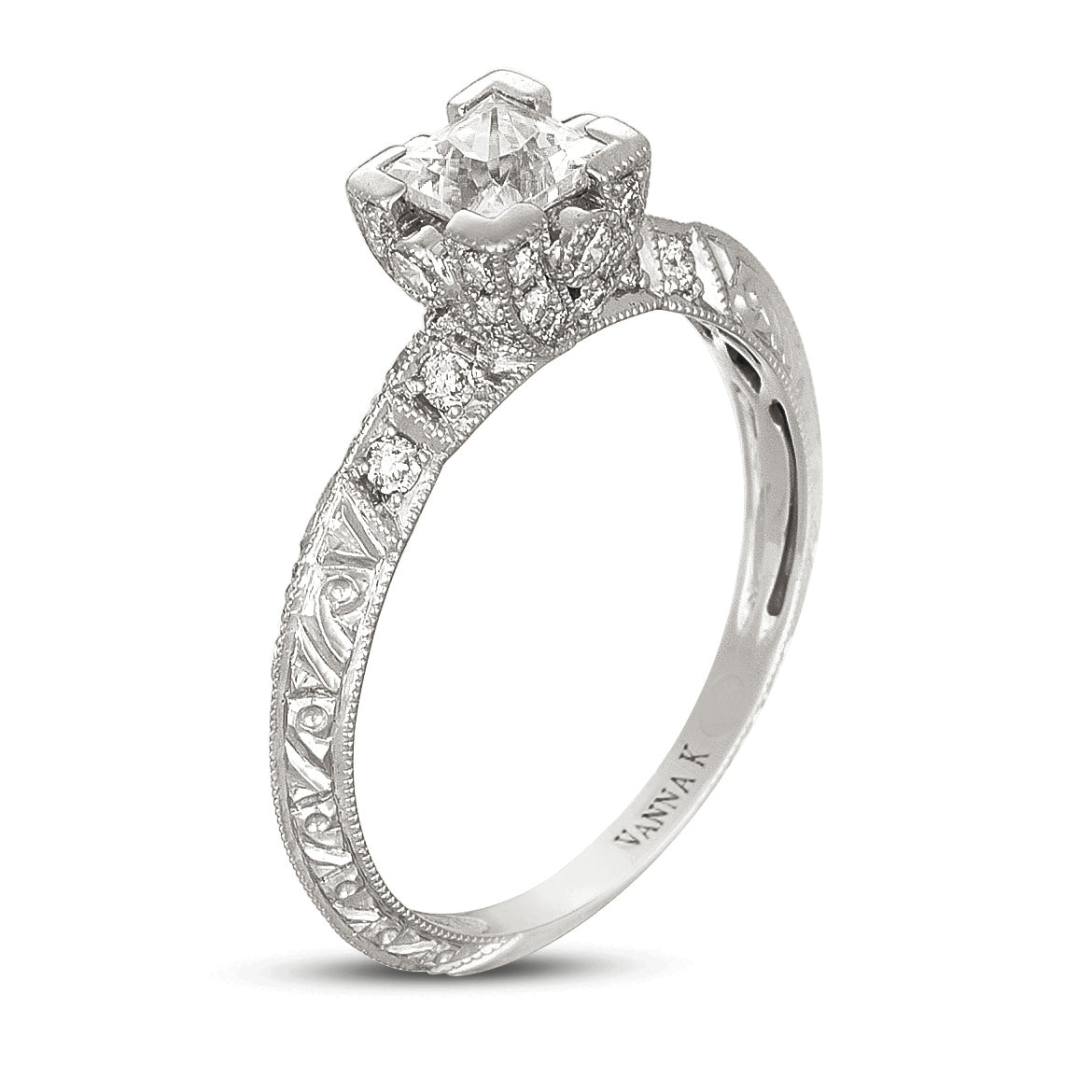 Hand Engraved Perfect Profile Diamond Ring Style 18RGL468DCZ