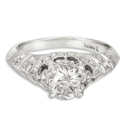 Hand Engraved Perfect Profile Diamond Ring Style 18RGL00515DCZ