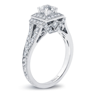 Hand Engraved Perfect Profile Diamond Ring Style 18RGL00596DCZ