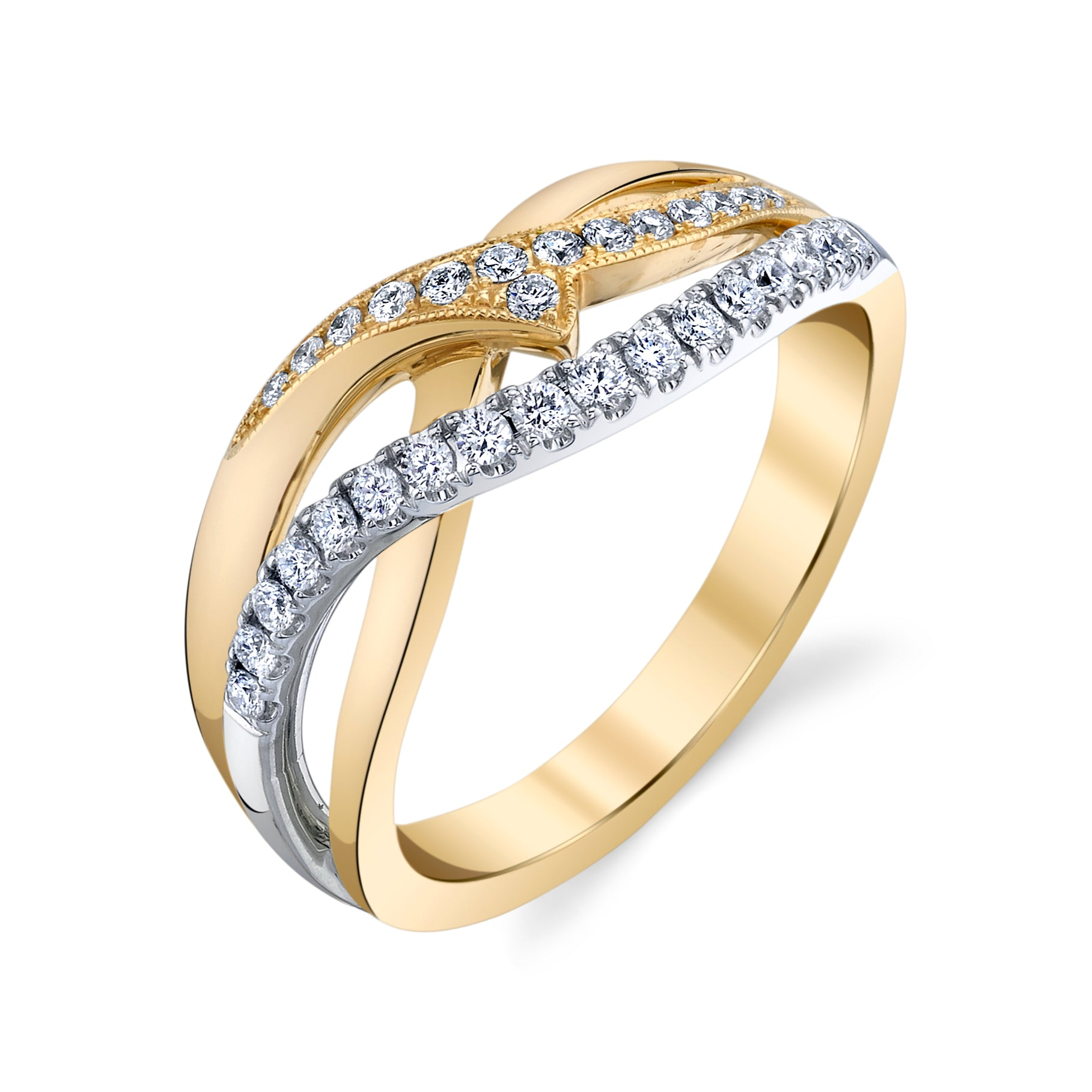 14K TWO TONE FASHION DIAMOND RING 14R1048YW