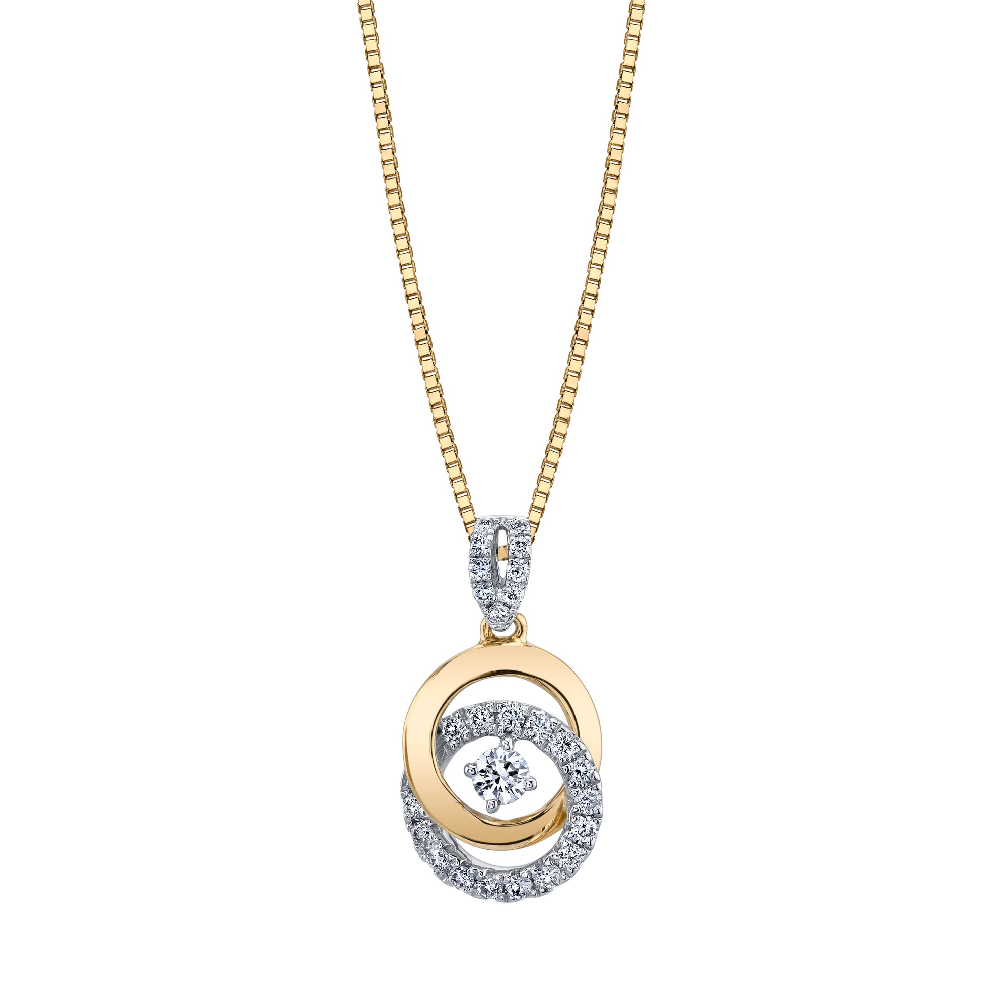 Two Tone Circle Diamond Pendant Necklace 14P09WYD