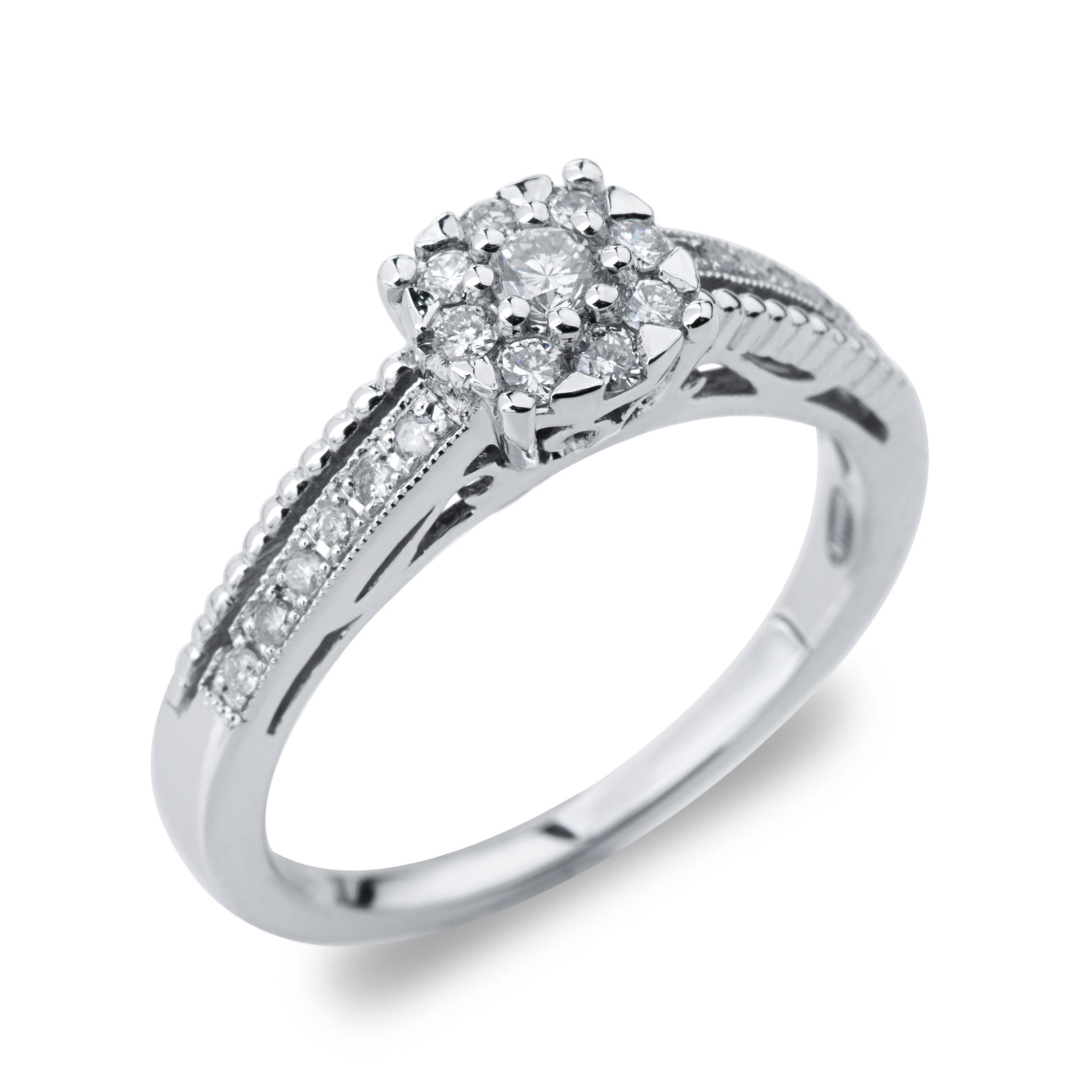 925 STERLING SILVER HALO DIAMOND ENGAGEMENT RING