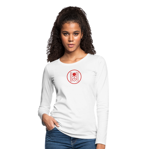 Women's Slim Fit Long Sleeve Logo Red - white