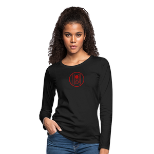 Women's Slim Fit Long Sleeve Logo Red - black