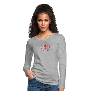 Women's Slim Fit Long Sleeve Logo Red - heather gray