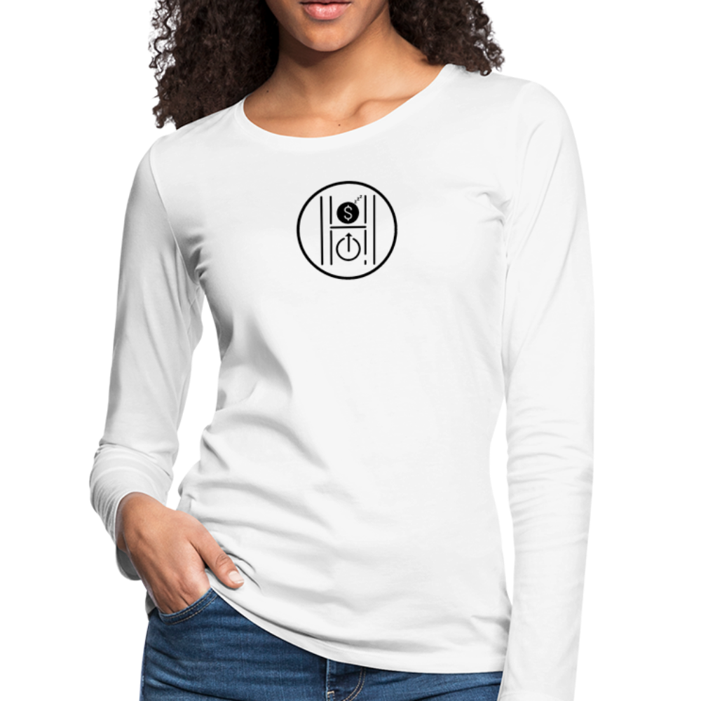 Women's Slim Fit Long Sleeve Logo Black - white