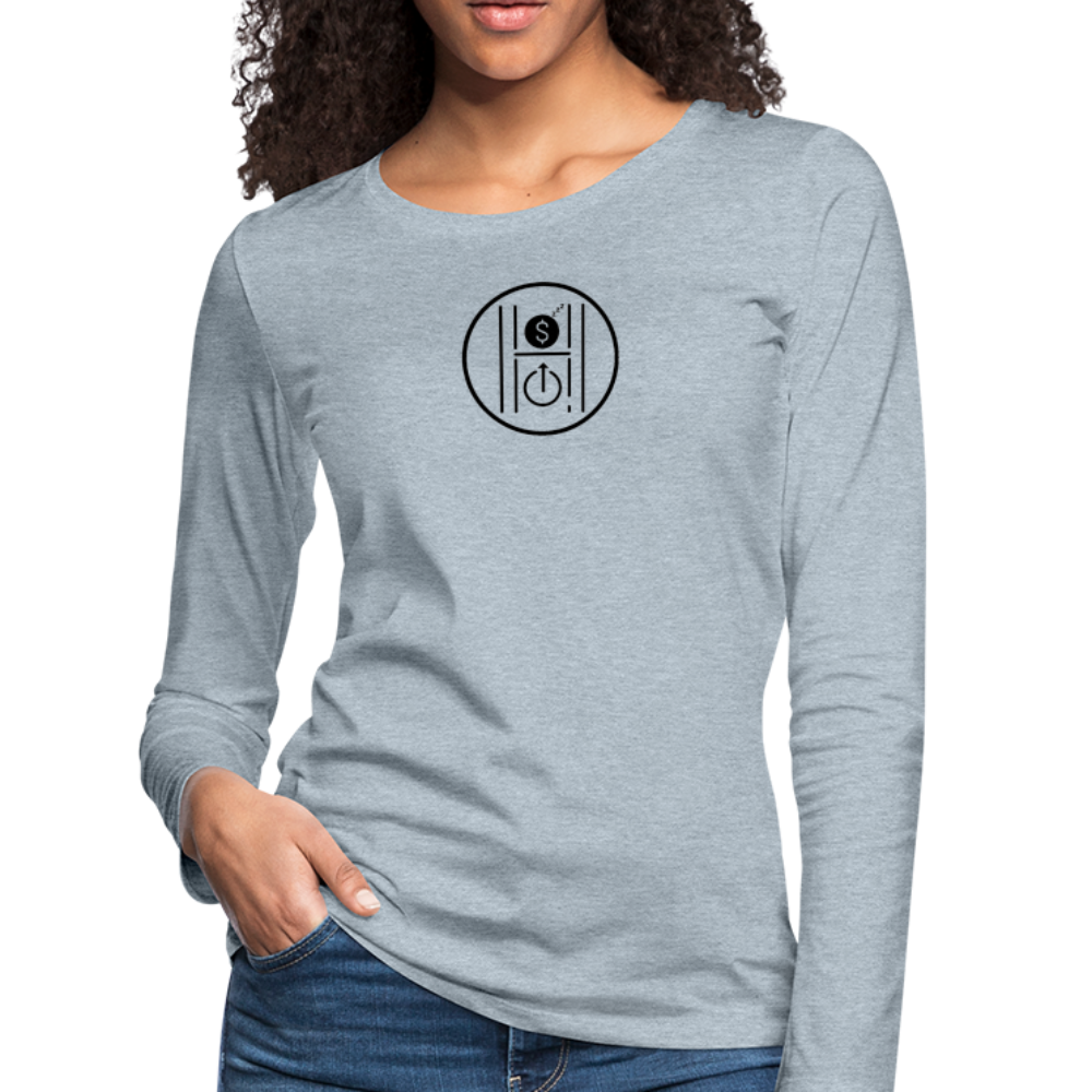 Women's Slim Fit Long Sleeve Logo Black - heather ice blue