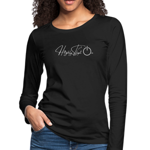 Women's Slim Fit Long Sleeve Design White - black
