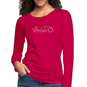 Women's Slim Fit Long Sleeve Design White - dark pink