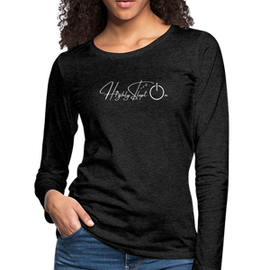 Women's Slim Fit Long Sleeve Design White - charcoal gray