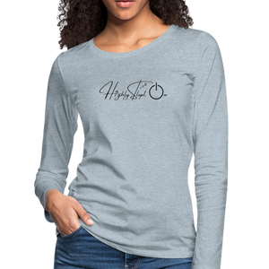 Women's Slim Fit Long Sleeve Design Black - heather ice blue