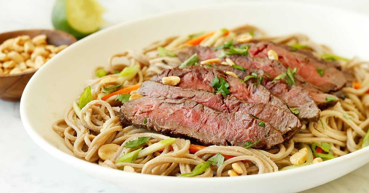 Thai-Peanut Grilled Flat Iron Wagyu Steak with Soba Noodles