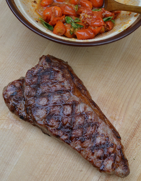 Grilled Strip Steak with Roasted Tomato Compote