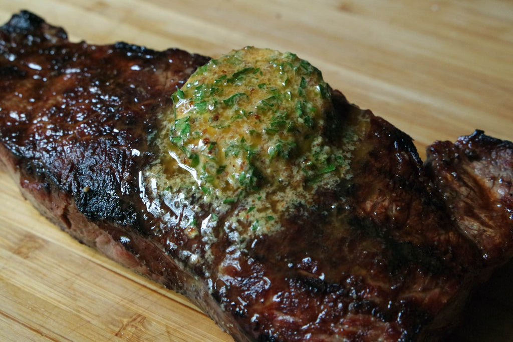 Grilled Wagyu Strip Steak with Flavored Spicy Mustard Butter Recipe