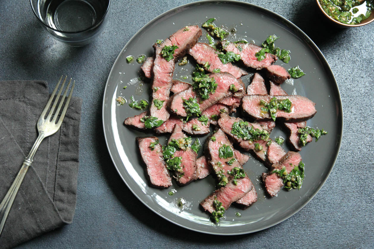Flat Iron Steak with Salsa Verde