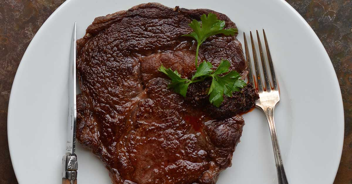 Pan Seared Ribeye Steak with Ancho Chile Sauce