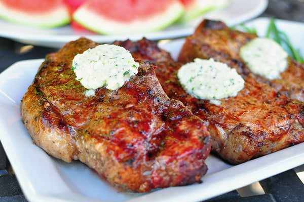 Grilled Wagyu Strip Steaks with Garlic Rosemary Butter