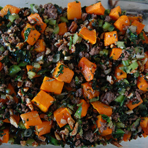 Roasted Butternut Squash Stuffing with Ground Wagyu Beef and Kale