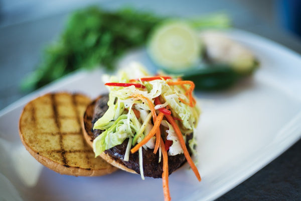 Pulled Thai BBQ Wagyu Burgers with Asian Napa Slaw
