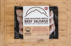 Wagyu Beef Sausage Links, Lone Mountain Wagyu Retail Trio