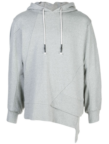 Staggered Hem Hoodie HEATHER GREY