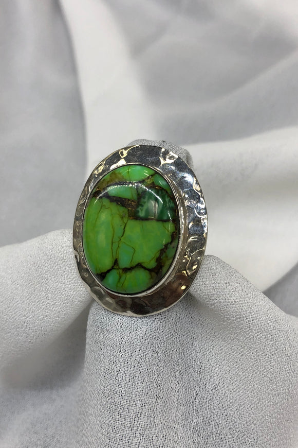 Green Copper Turquoise Ring set in Sterling Silver