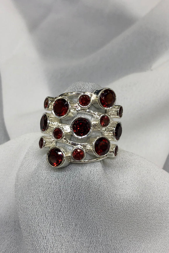 Garnet Ring set in Sterling Silver