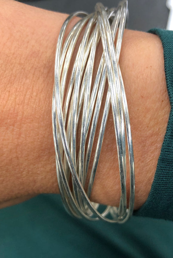Multi-Strand Sterling Silver Bangle