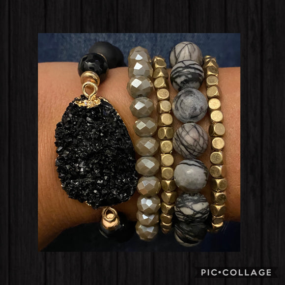 Black Druzy Fashion Stack Bracelet available in other stones