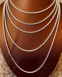 3 MM Square Byzantine Sterling Silver Chain