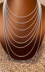 Light Weight Sterling Silver Diamond Cut Chain