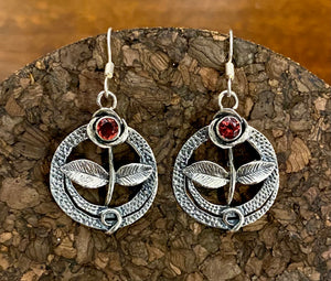 Garnet Earrings set in Sterling Silver also available in other stones