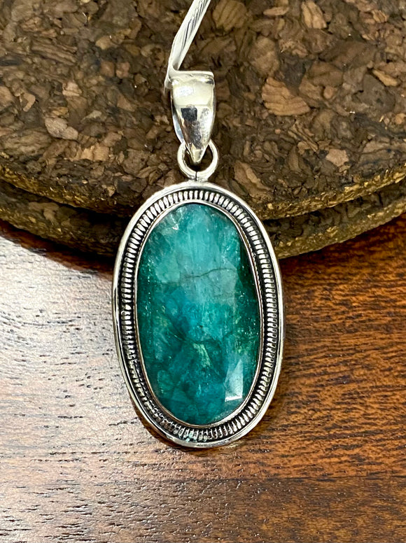 Emerald Cab Pendant set in Sterling Silver