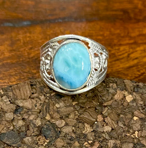 Larimar Ring set in Sterling Silver