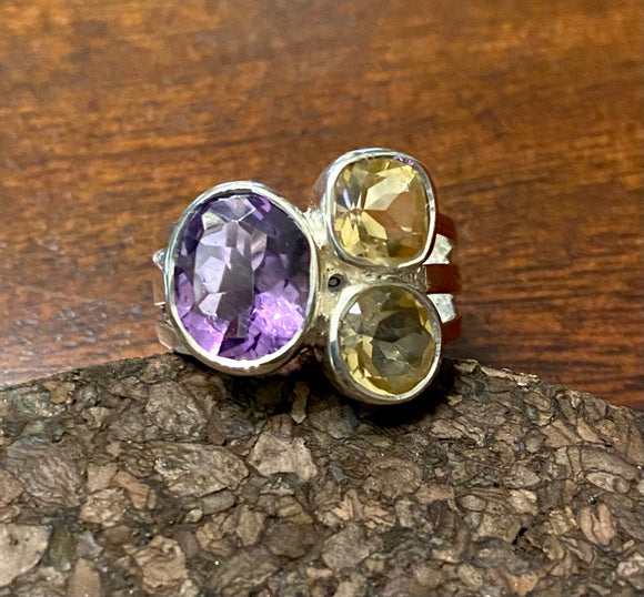 Amethyst and Citrine Ring set in Sterling Silver