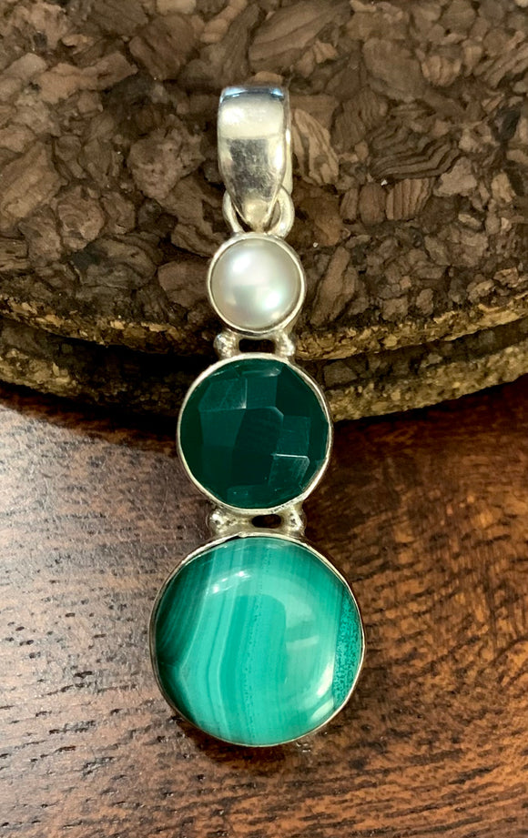 Malachite - Green Onyx - Pearl Pendant set in Sterling Silver
