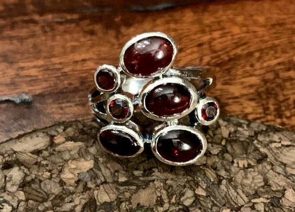 Garnet Cab Ring set in Sterling Silver