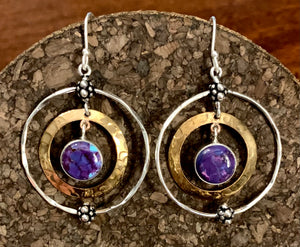 Purple Copper Turquoise Earring set in Sterling Silver